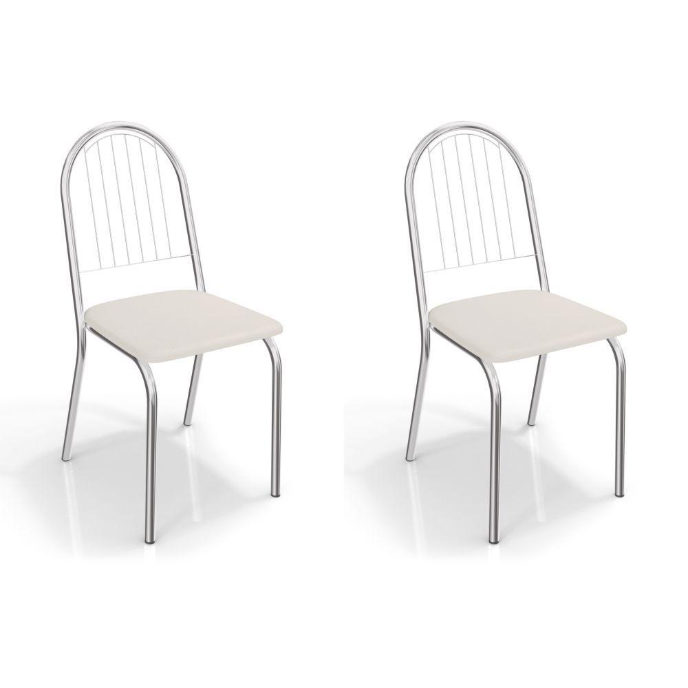 Kit com 2 Cadeiras Estofadas Noruega Cromada 2C077CR Kappesberg