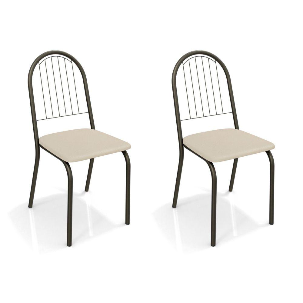 Kit com 2 Cadeiras Estofadas Noruega Pintada Cor Bronze 2C077BRZ Kappesberg Crome
