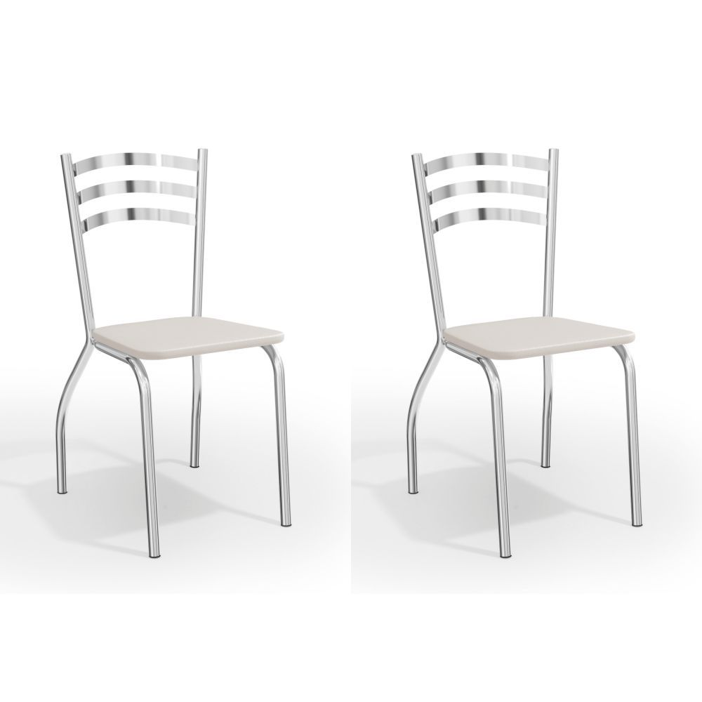 Kit com 2 Cadeiras Estofadas Portugal Cromada 2C007CR Kappesberg