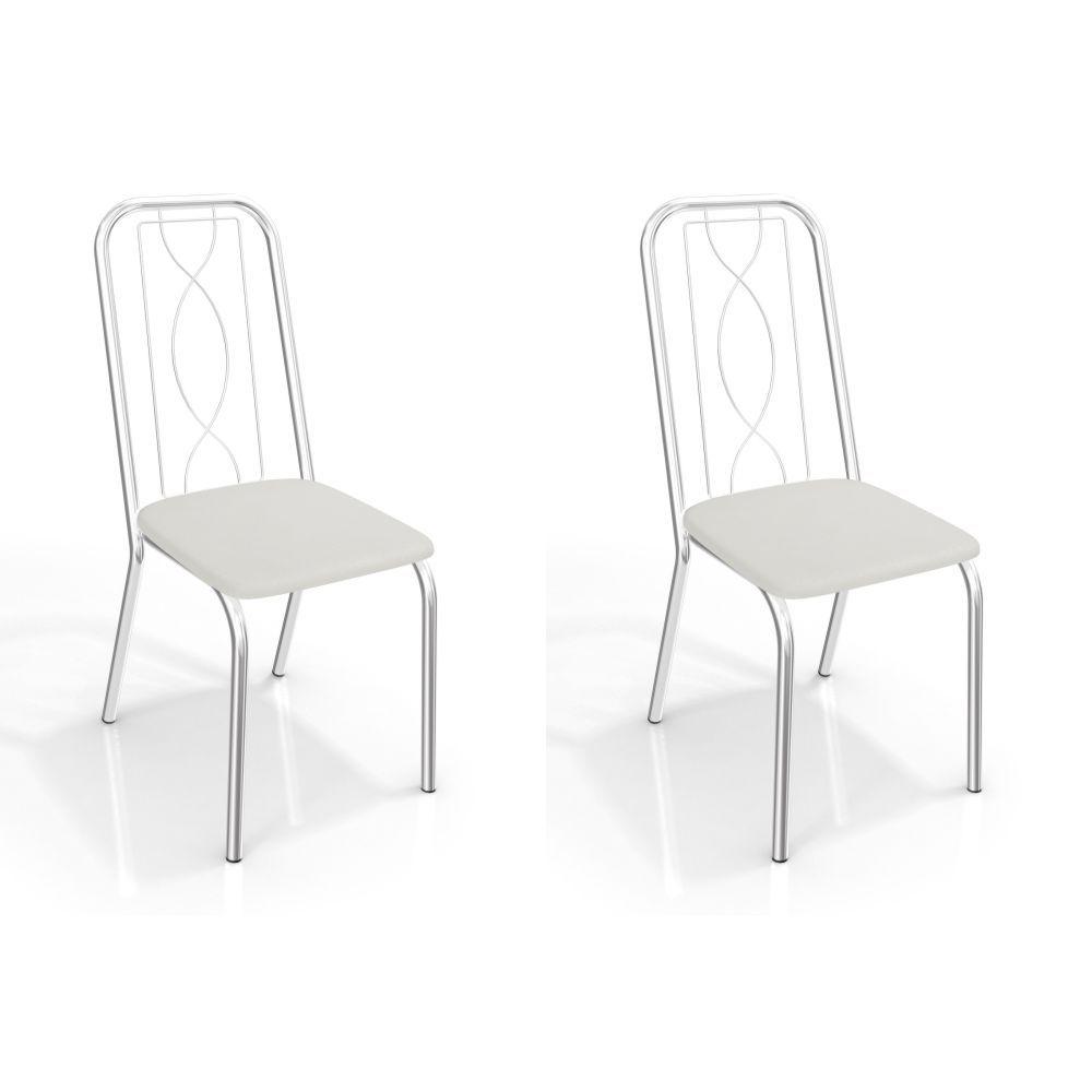 Kit com 2 Cadeiras Estofadas Viena Cromada 2C072CR Kappesberg