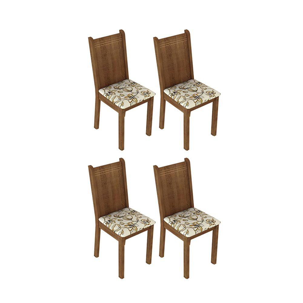 Kit com 4 Cadeiras de Jantar MDF/MDP Estofadas 4290 Madesa