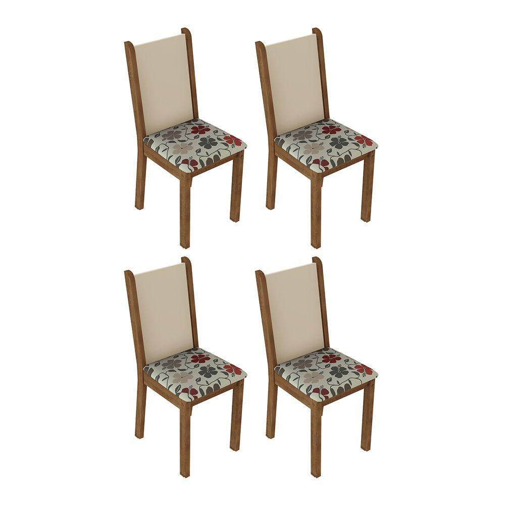 Kit com 4 Cadeiras de Jantar MDF/MDP Estofadas 4291 Madesa