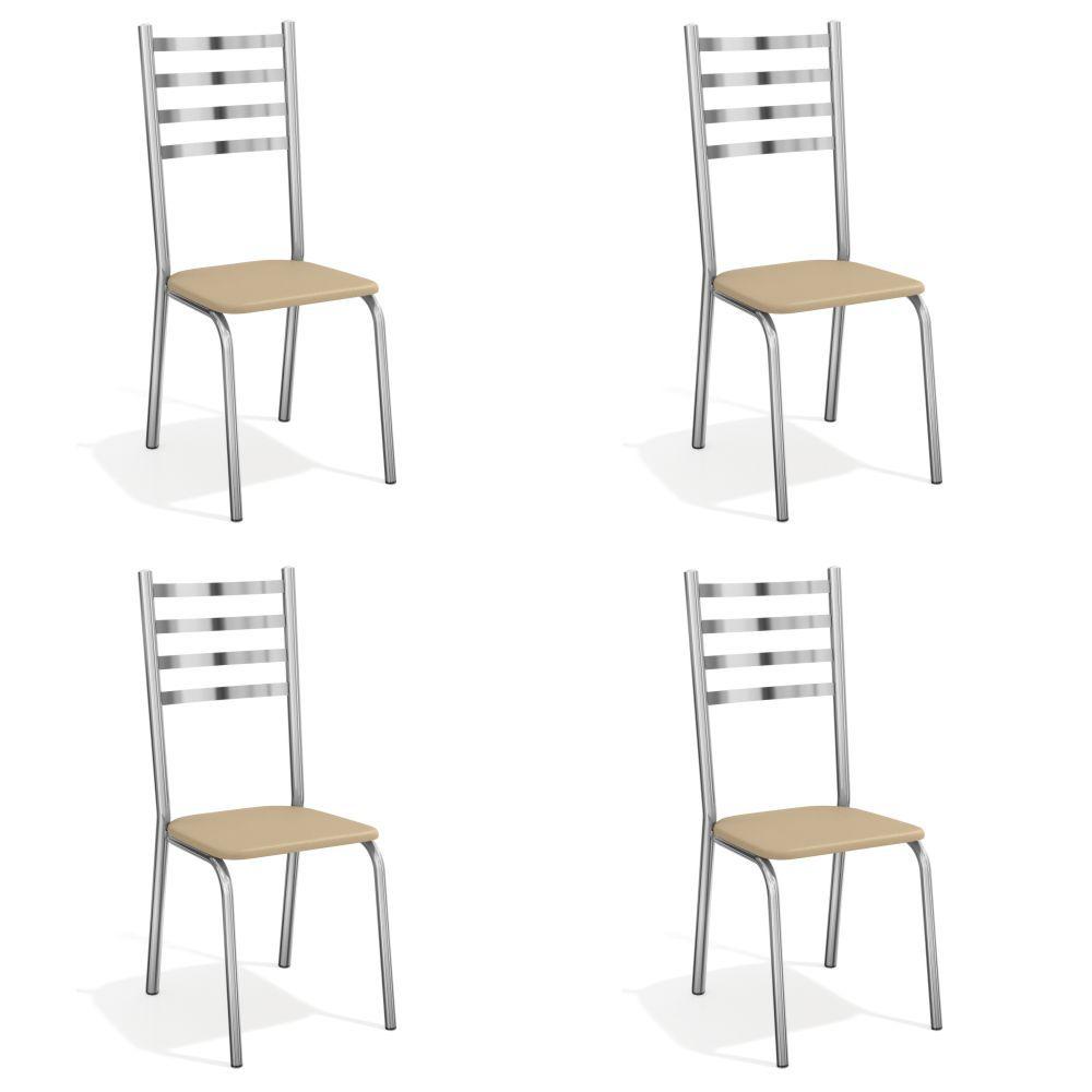Kit com 4 Cadeiras Estofadas Alemanha Cromada 4C086CR Kappesberg