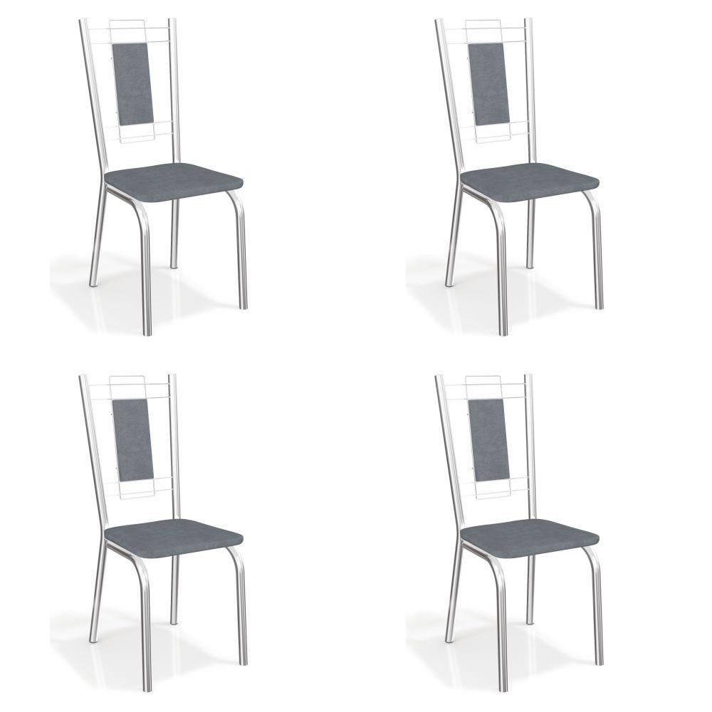 Kit com 4 Cadeiras Estofadas Florença Cromada 4C005CR Kappesberg