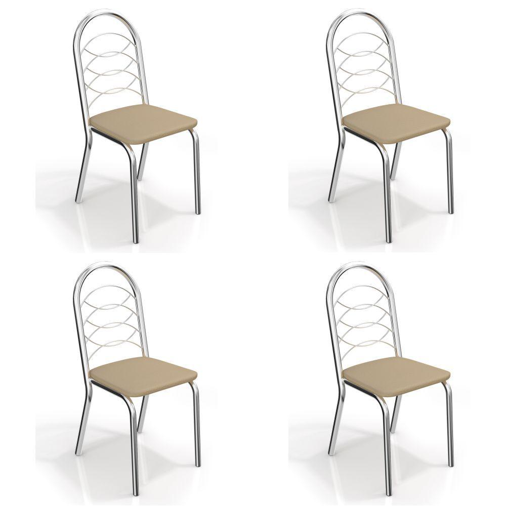 Kit com 4 Cadeiras Estofadas Holanda Cromada 4C009CR Kappesberg