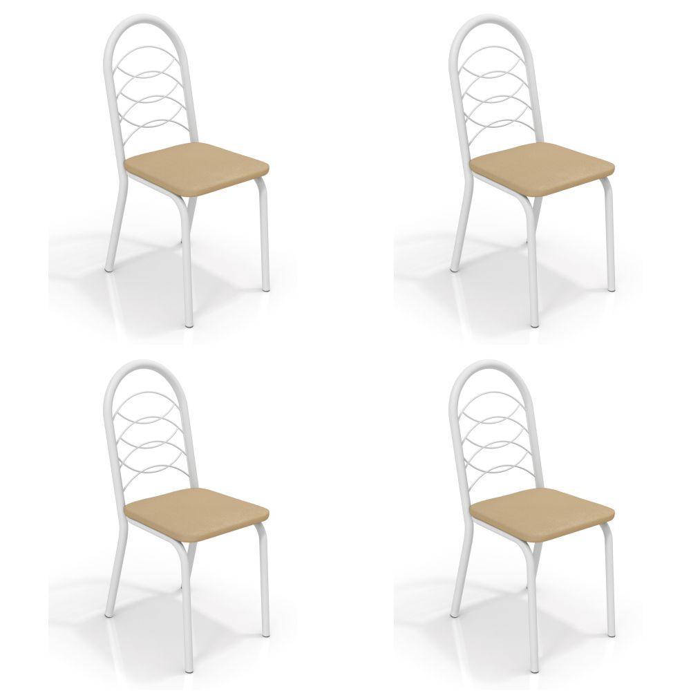 Kit com 4 Cadeiras Estofadas Holanda Pintada 4C009 Crome Kappesberg