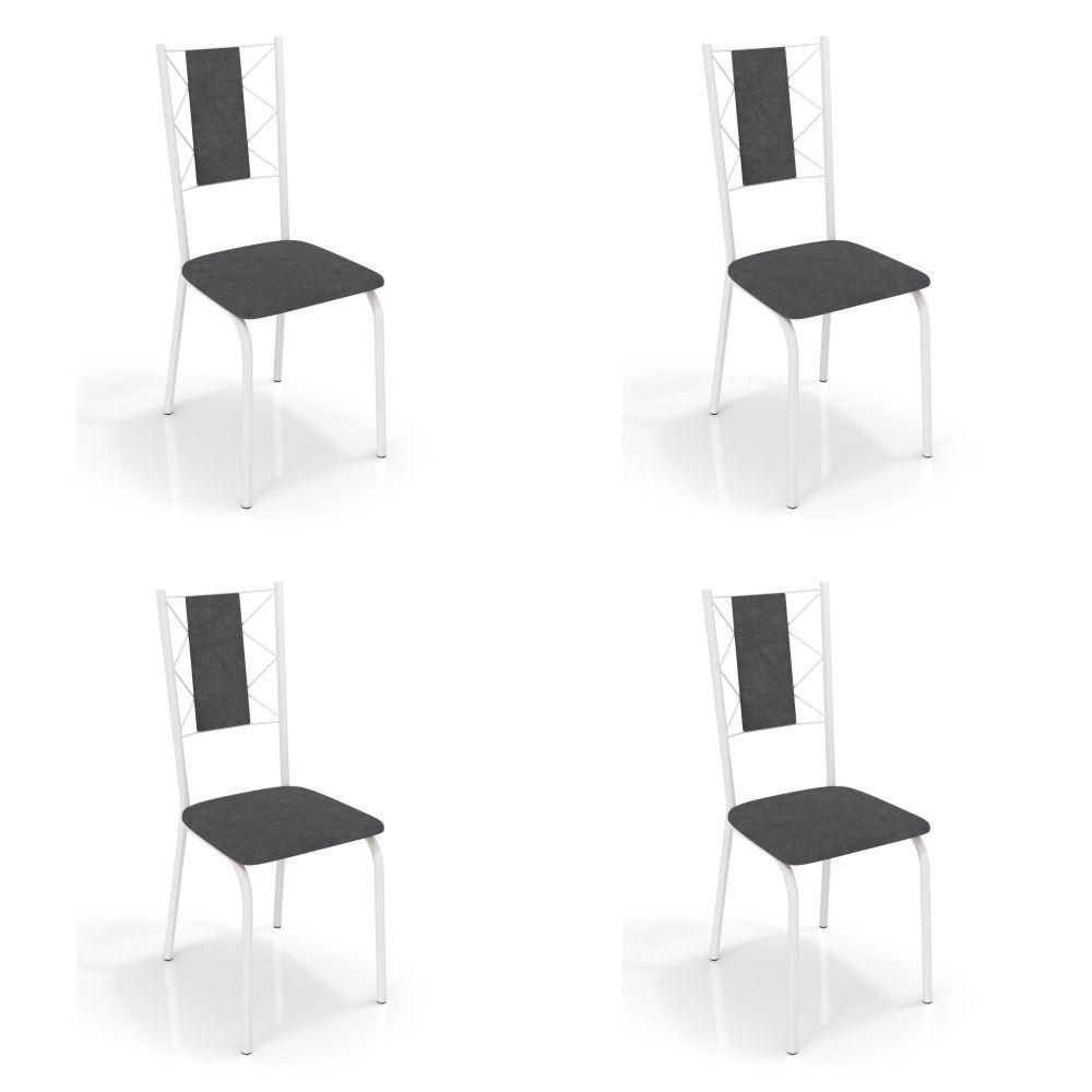 Kit com 4 Cadeiras Estofadas Lisboa Pintada 4C076 Crome Kappesberg