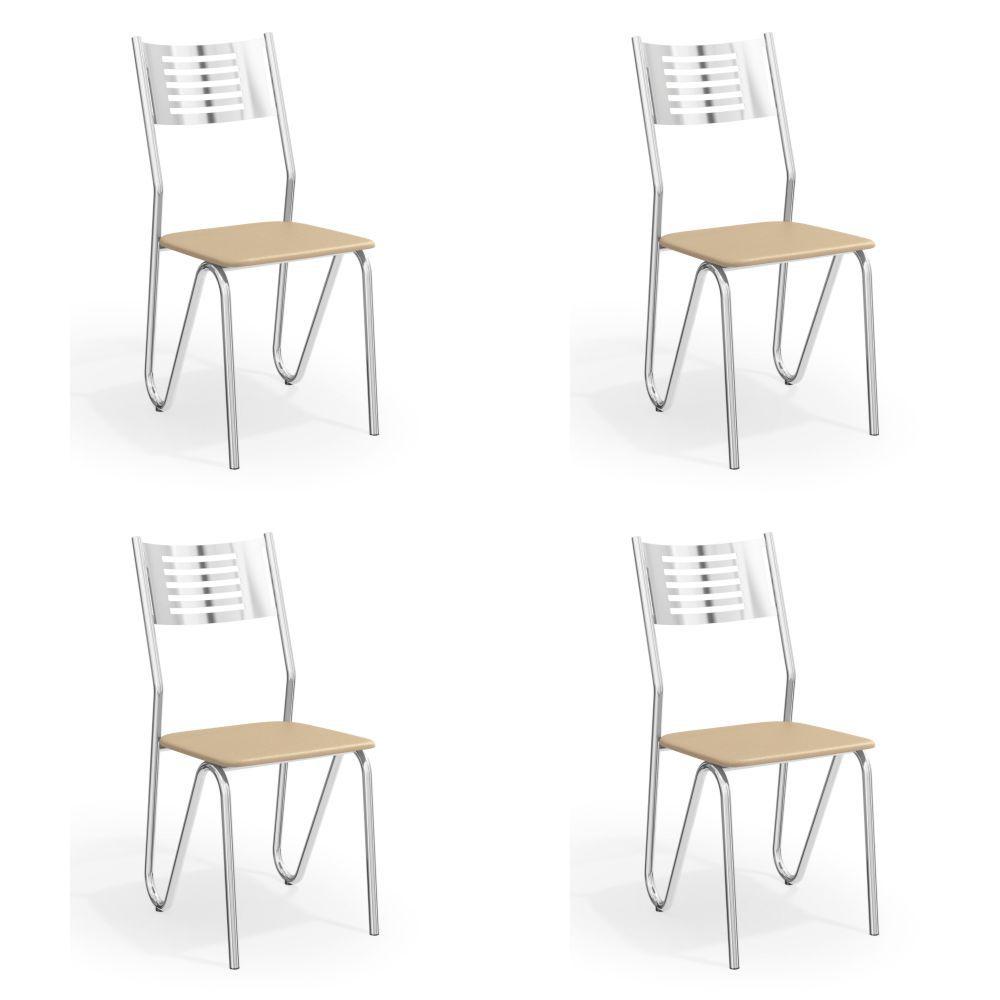 Kit com 4 Cadeiras Estofadas Nápoles Cromada 4C045CR Kappesberg