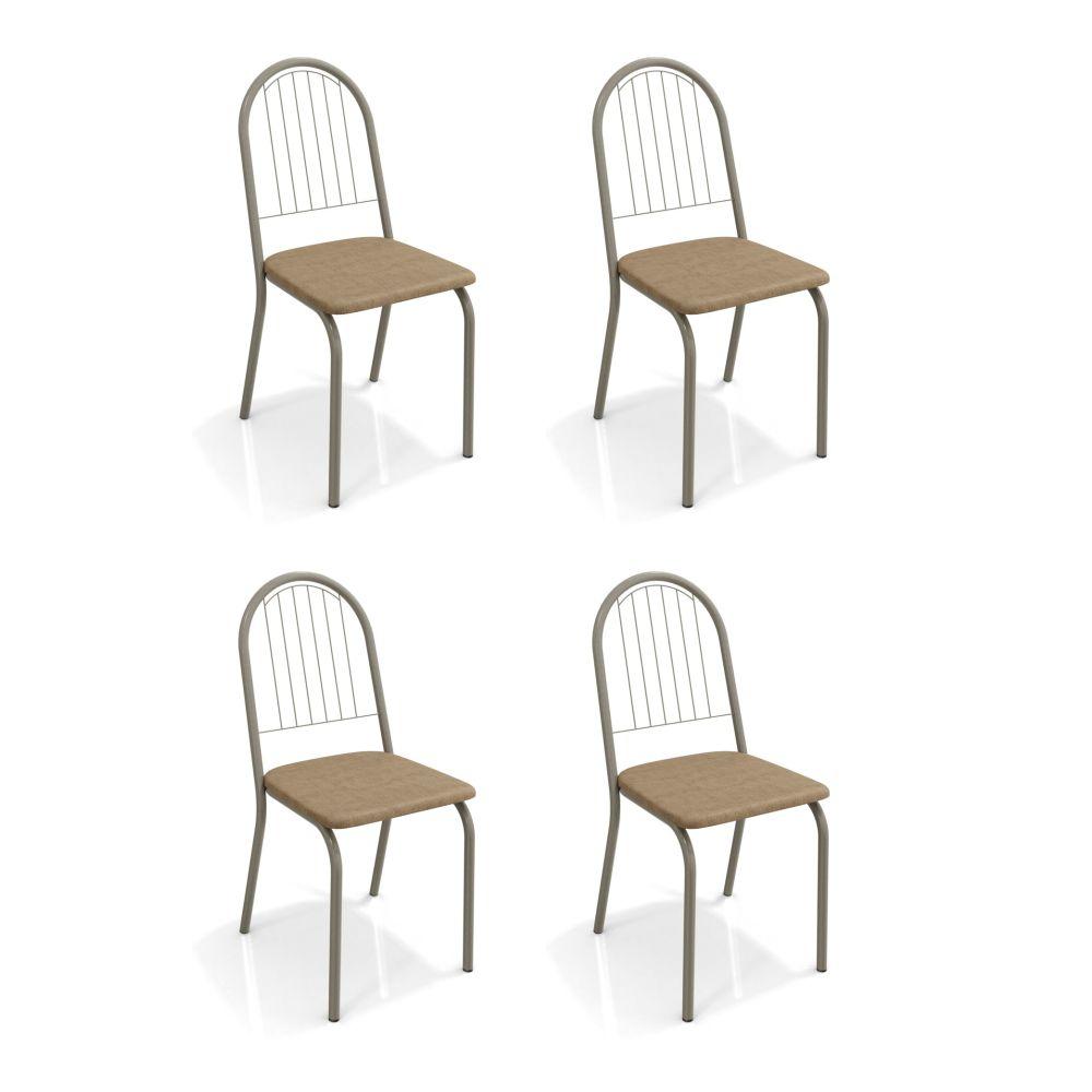 Kit com 4 Cadeiras Estofadas Noruega Cor Nickel 4C077NK Kappesberg Crome