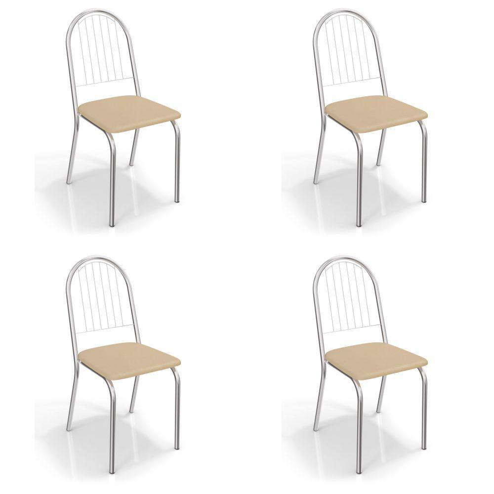 Kit com 4 Cadeiras Estofadas Noruega Cromada 4C077CR Crome Kappesberg