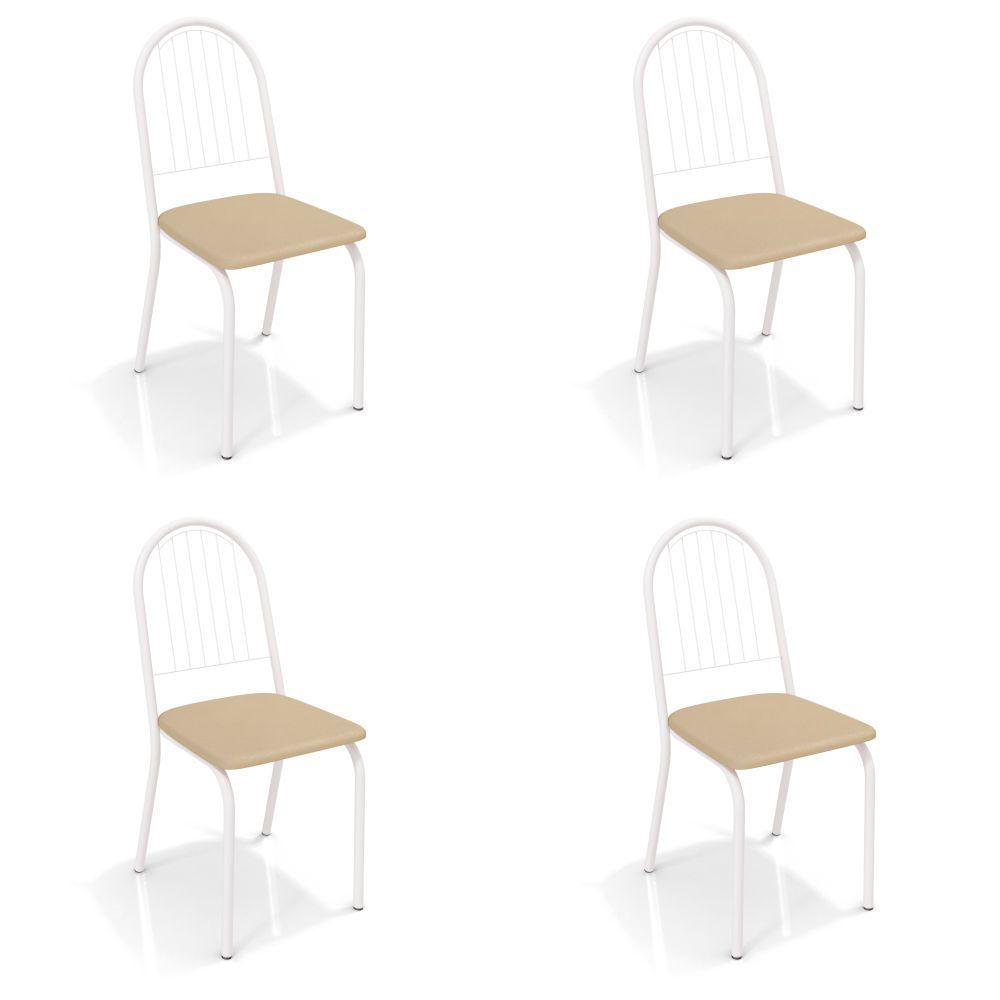 Kit com 4 Cadeiras Estofadas Noruega Pintada 4C077 Crome Kappesberg