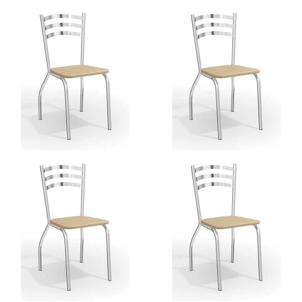 Kit com 4 Cadeiras Estofadas Portugal Cromada 4C007CR Kappesberg Crome
