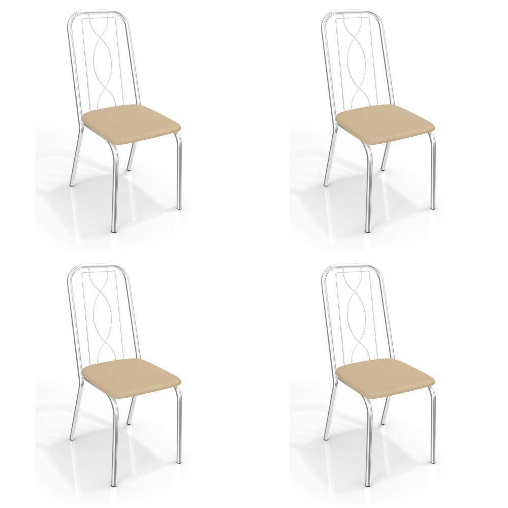 Kit com 4 Cadeiras Estofadas Viena Cromada 4C072CR Kappesberg