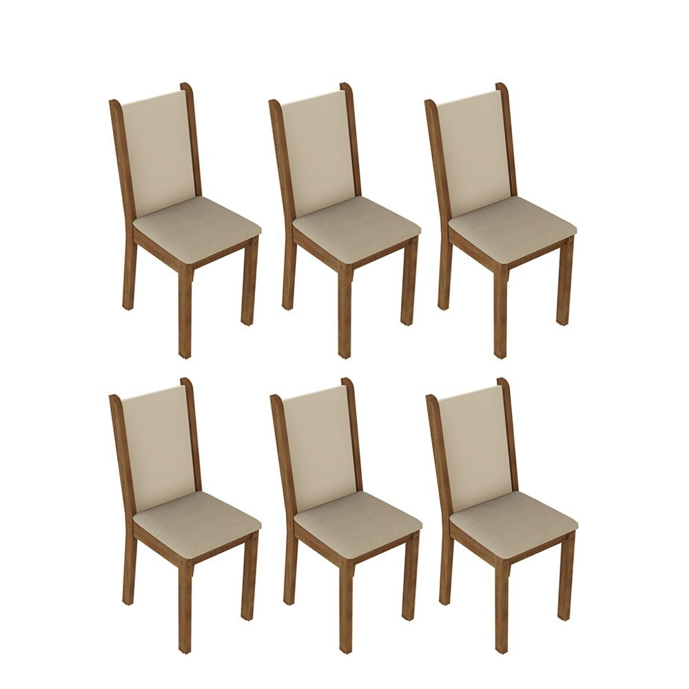 Kit com 6 Cadeiras de Jantar MDF/MDP Estofadas 4291 Madesa