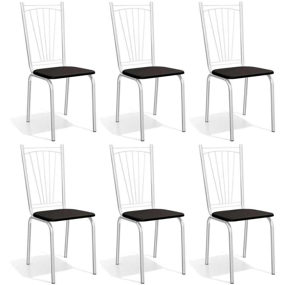 Kit com 6 Cadeiras Estofadas Canadá Cromada 6C100CR Kappesberg
