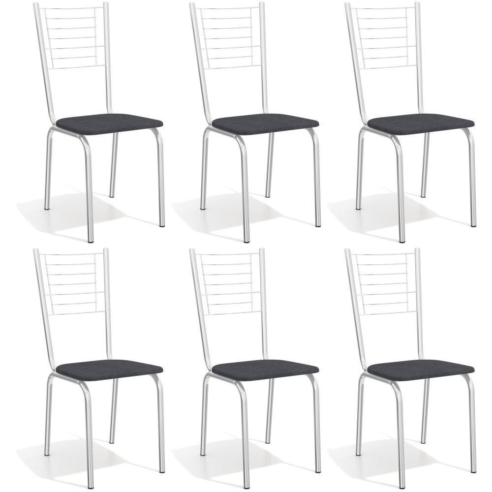 Kit com 6 Cadeiras Estofadas Mali Cromada 6C098CR Kappesberg
