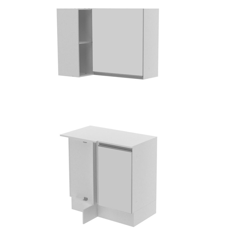 Kit Cozinha Canto Reto Smart 2 Portas e Nicho Com Tampo 100% MDF GCSM138001 Madesa