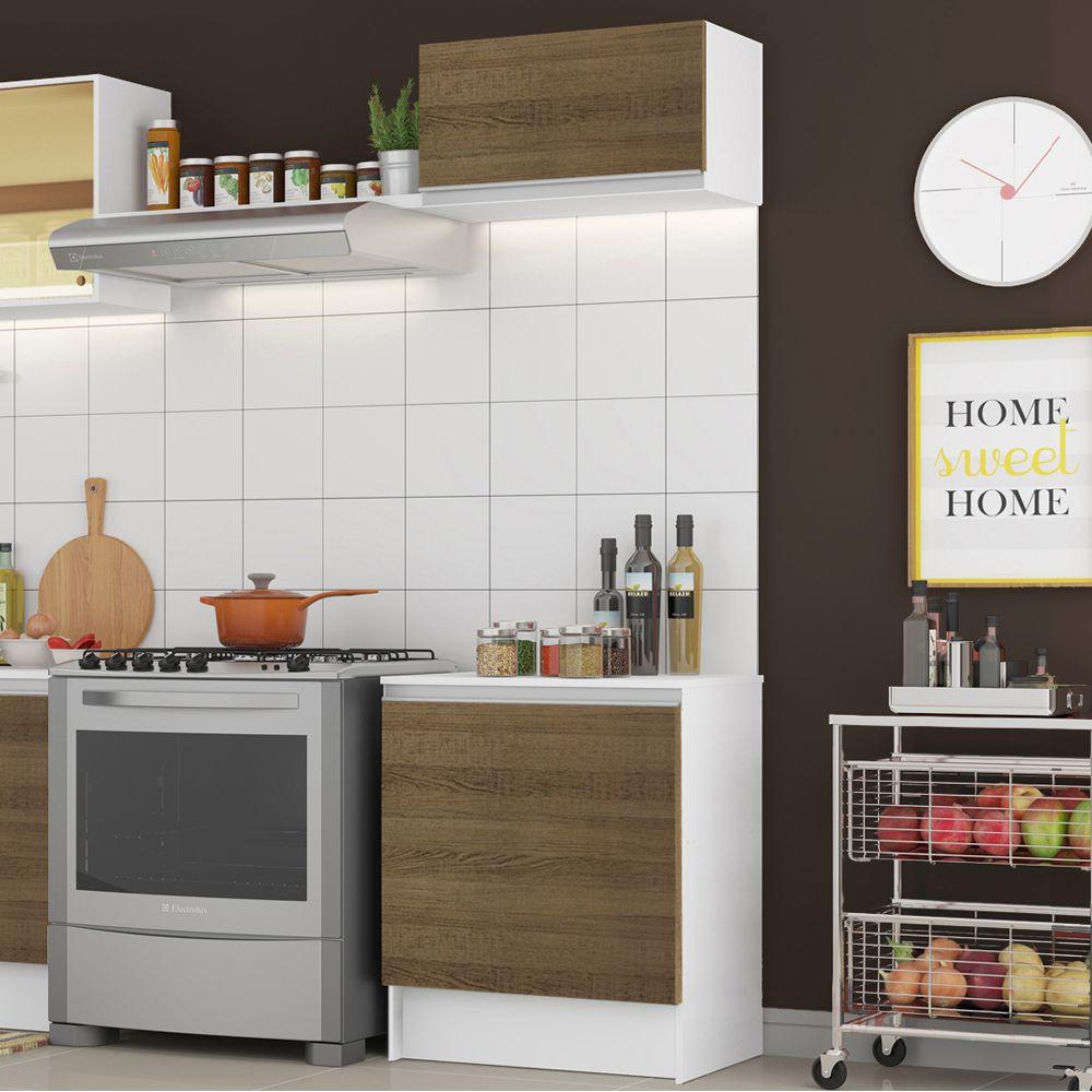 Kit Cozinha Topazio 60cm 2 Portas com Armário Aéreo e Balcão GRTP060001 Madesa