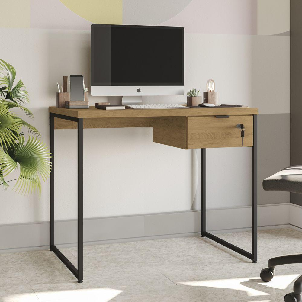 Mesa Para Escritório 91cm com Gaveteiro Estilo Industrial CMC621 Kappesberg Crome