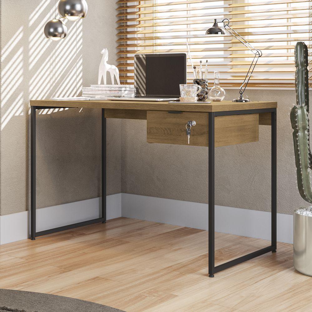 Mesa Para Escritório 1,18m com Gaveteiro Estilo Industrial CMC622 Kappesberg Crome