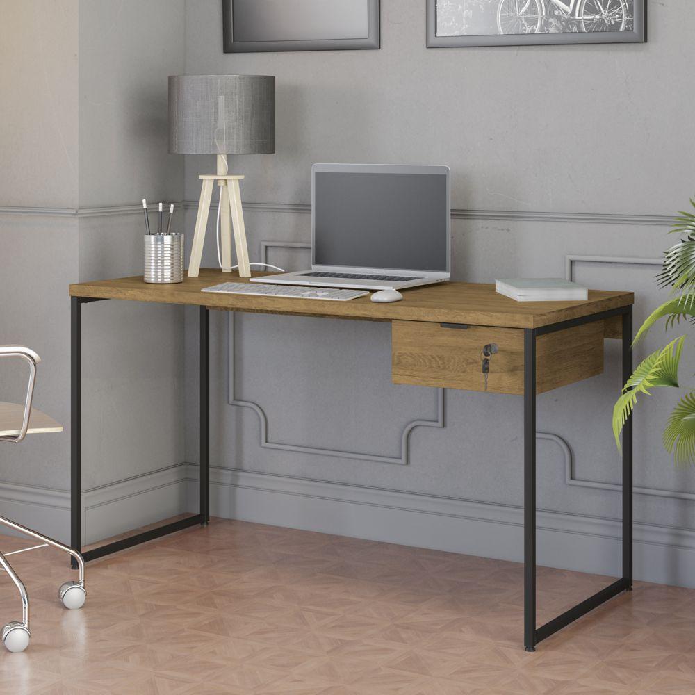Mesa Para Escritório 1,36m com Gaveteiro Estilo Industrial CMC623 Kappesberg Crome