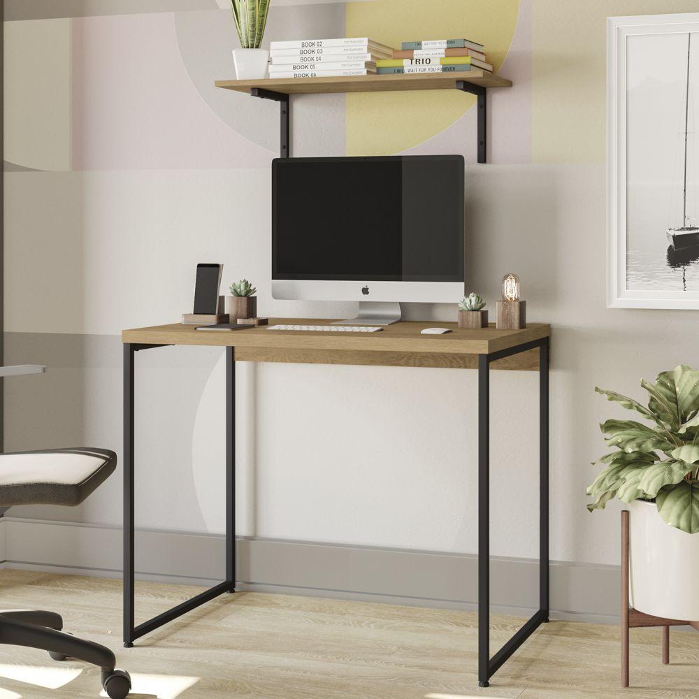 Mesa Para Escritório 91cm com Prateleira 72cm Estilo Industrial CMC736 Kappesberg Crome