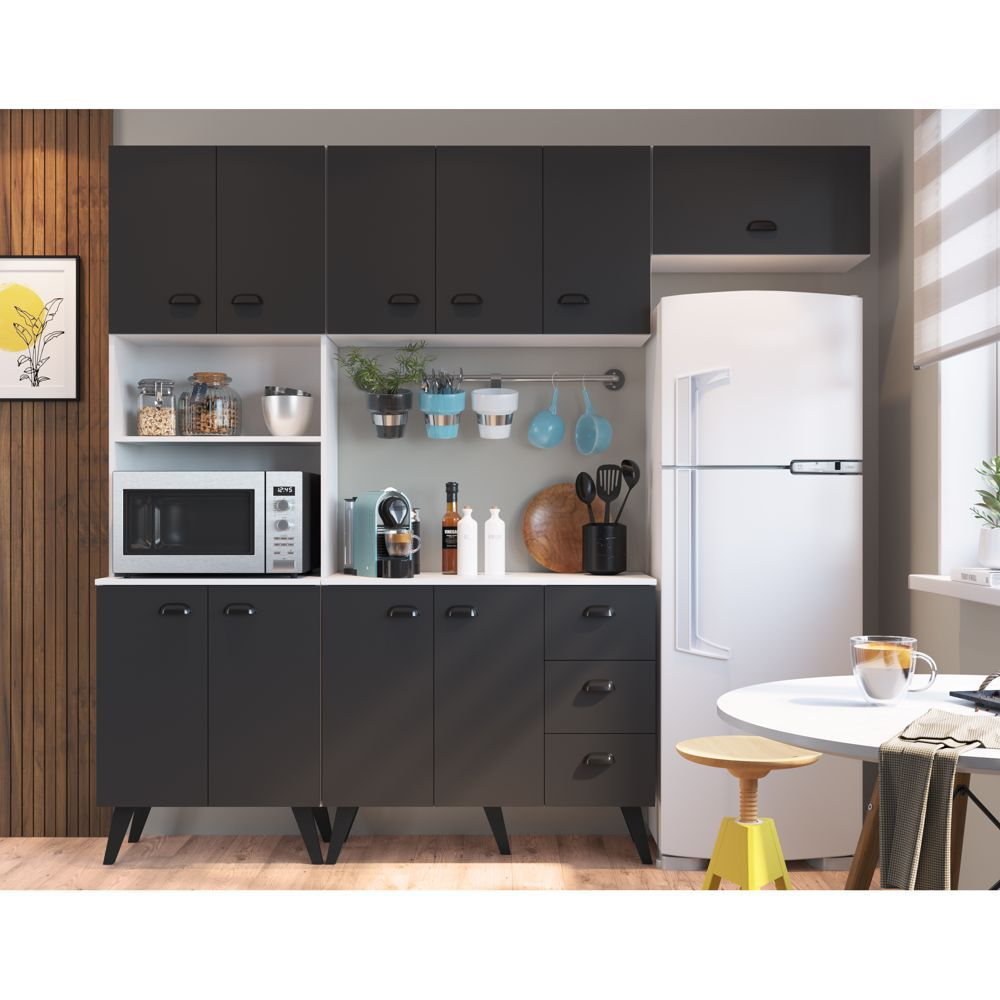 Kit Móveis para Cozinha Balcão, Paneleiro para Fornos e Aéreos 4pc CJ036 Mia Coccina