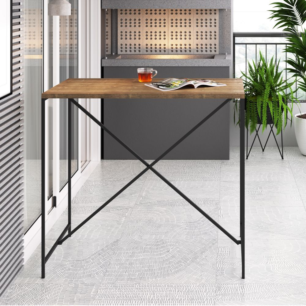 Bancada para Cozinha/Jantar Estilo Industrial 1,10x0,60m 27817 Steel Quadra Artesano