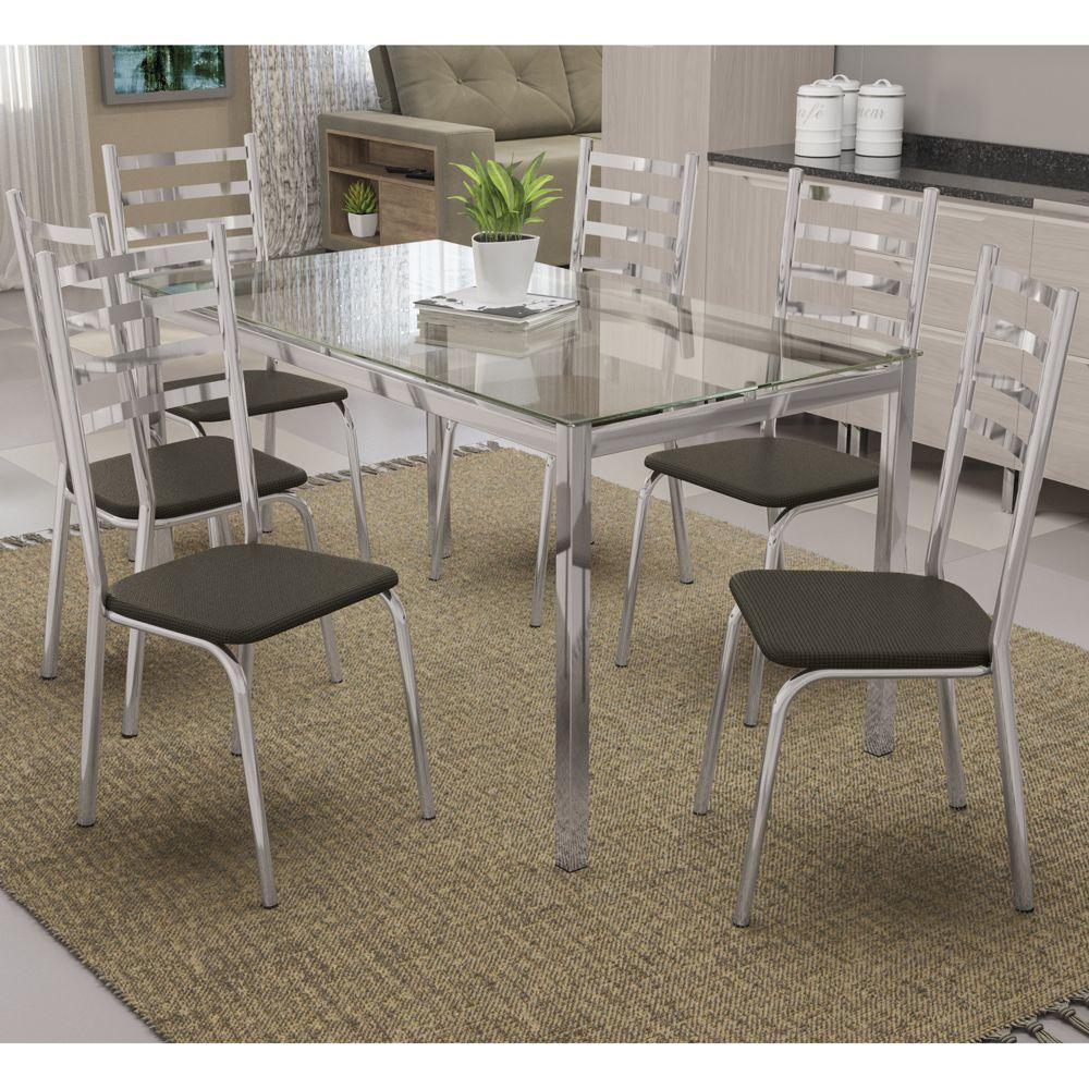 Mesa com 6 cadeiras Assento Estofado Estrutura Cromada e Tampo de Vidro Incolor CMC732 Kappesberg Crome