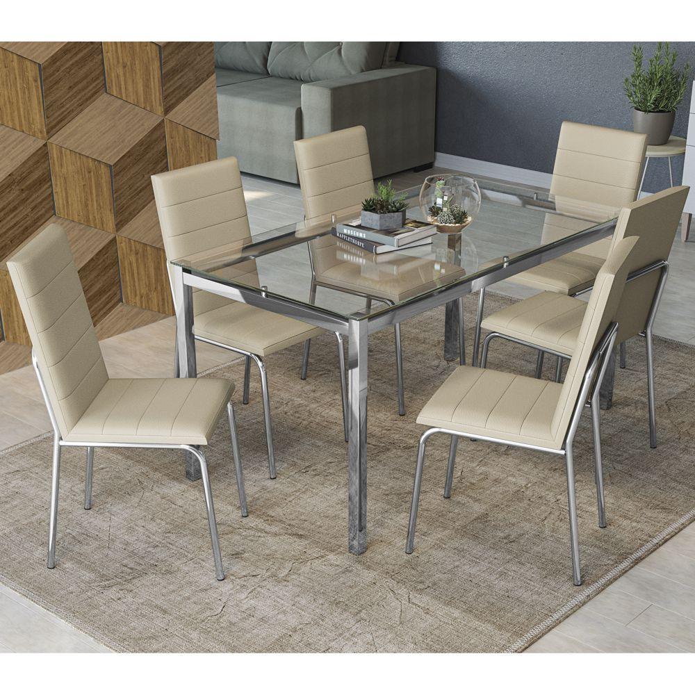 Mesa com 6 cadeiras Estofadas Estrutura Cromada e Tampo de Vidro Incolor CMC733 Kappesberg Crome