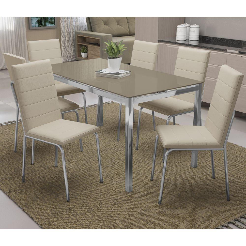 Mesa com 6 cadeiras Estofadas Estrutura Cromada e Tampo de Vidro Pintado CMC731 Kappesberg Crome