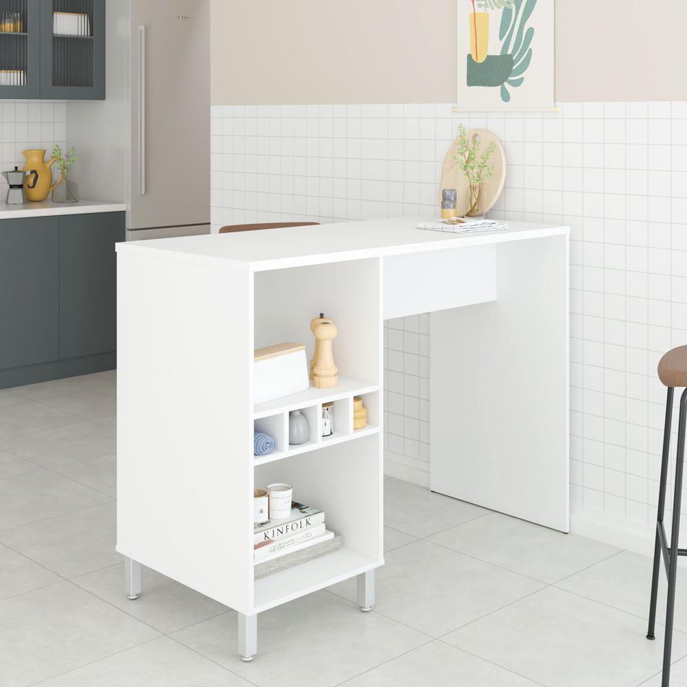 Mesa com Painel Multiuso 2 Nichos Cozinha BMU 56 BRV Móveis