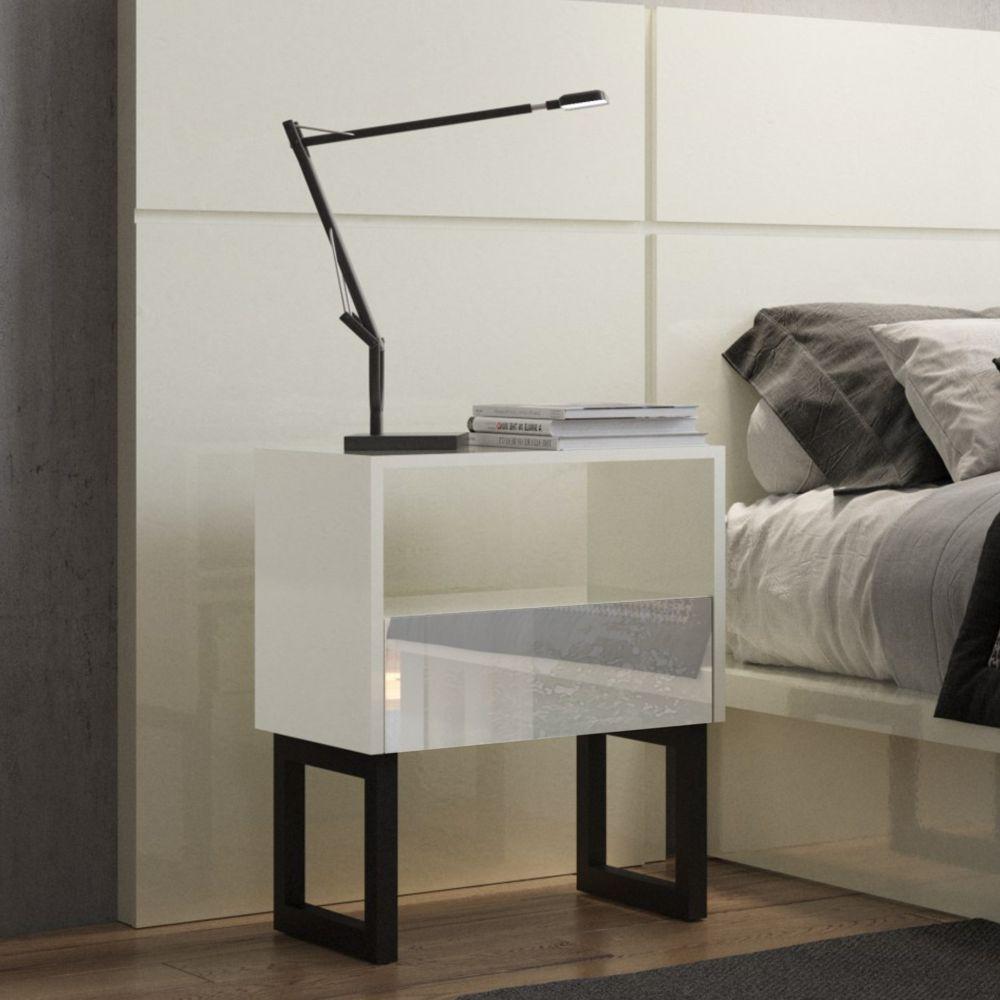 Mesa de Cabeceira estilo industrial 45cm com gaveta espelhada 100% MDF W347E Dalla Costa