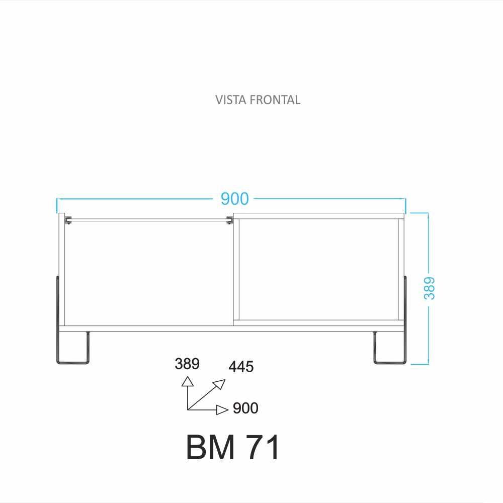 Mesa de Centro 90x45cm Com vidro BM 71 BRV Móveis