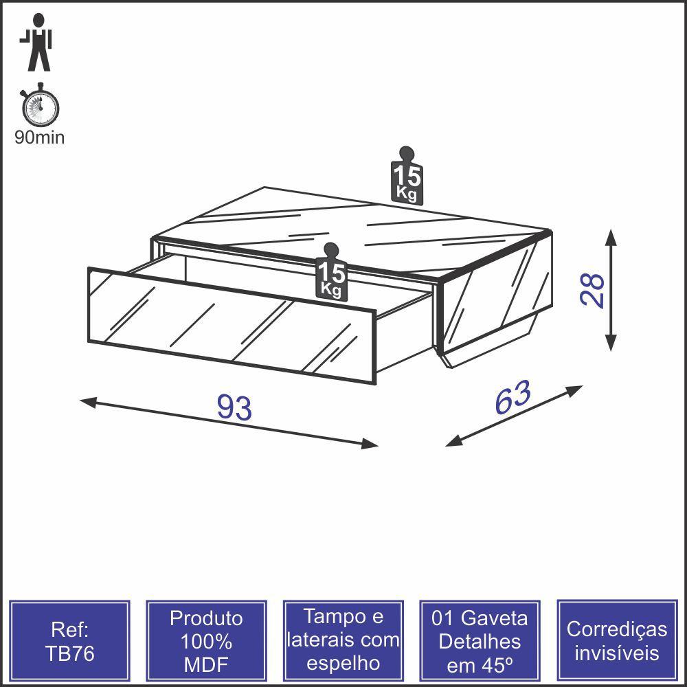 Mesa de Centro Espelhada 93x63cm com Gaveta TB76 Dalla Costa