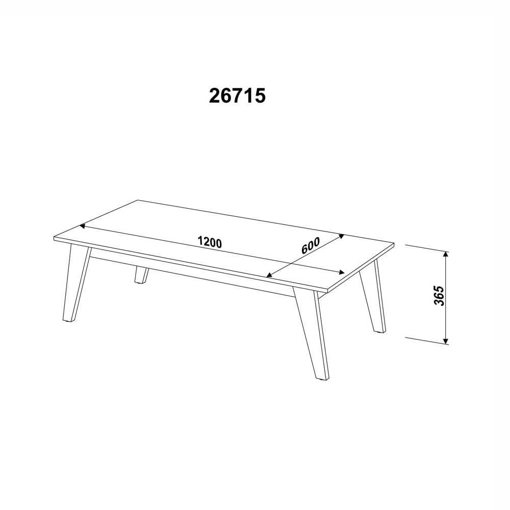 Mesa de Centro Retrô 120x60cm 26715 Trend Artesano
