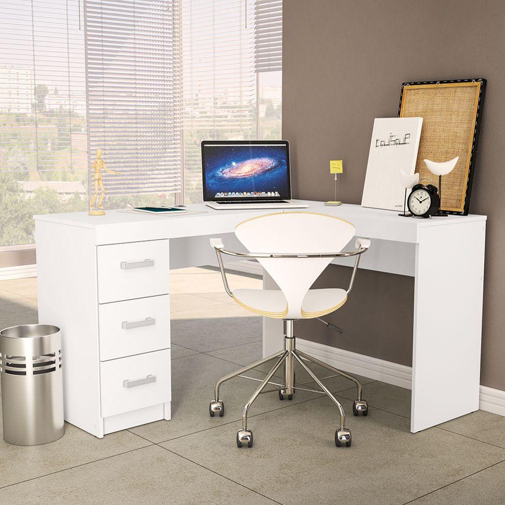 Mesa de escritório Fênix de canto 1,27x1,13m 3 gavetas 1184 Politorno