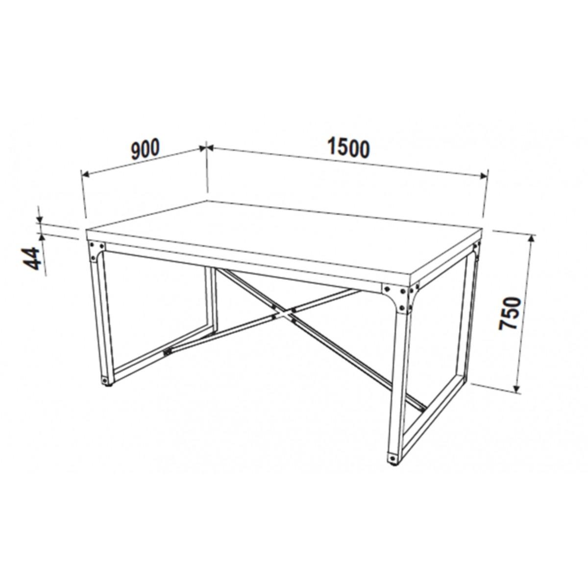 Mesa de Jantar 4 lugares 150x90cm Steel 14001 Artesano