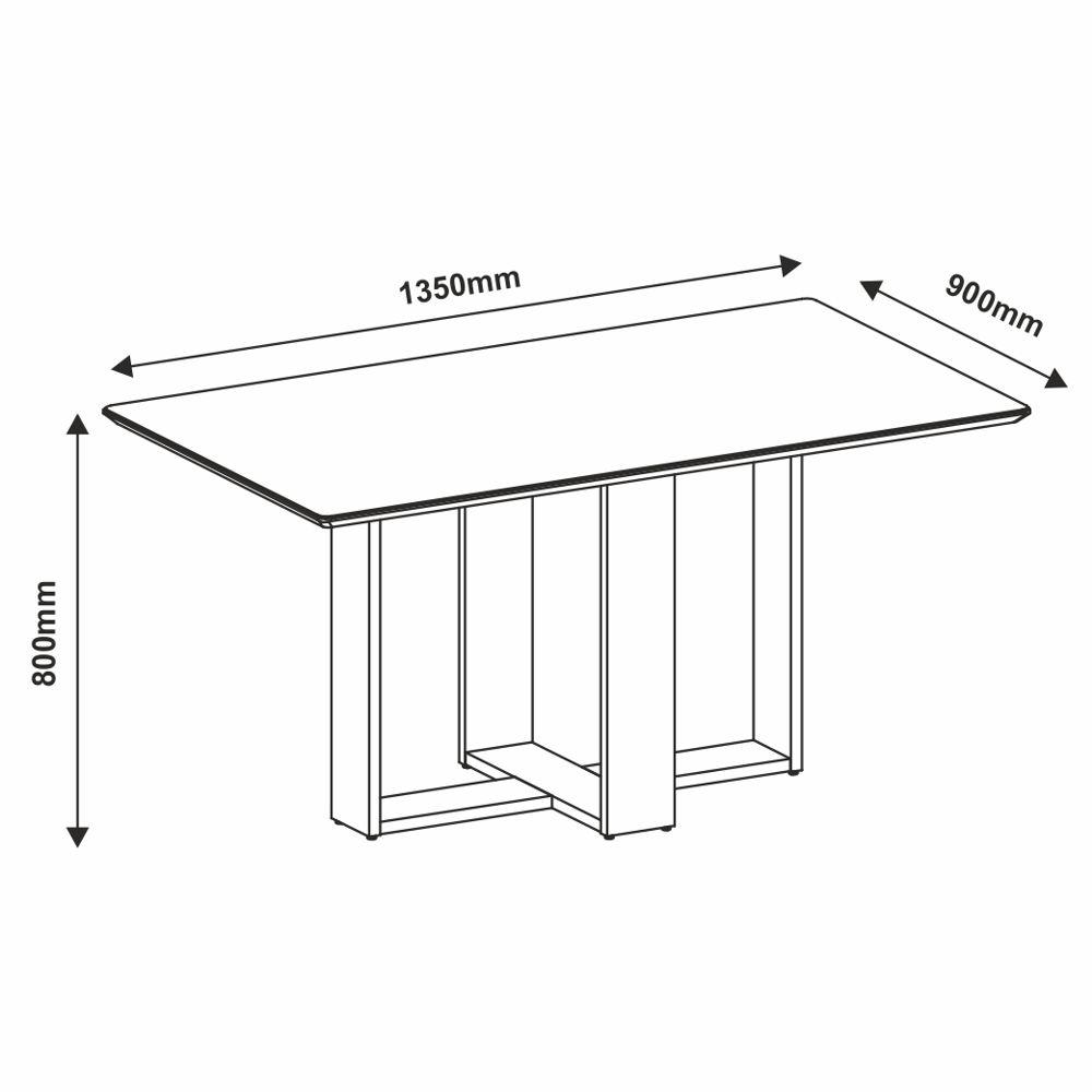 Mesa Easy 1,35m Com Tampo de Vidro Linha Versátile Casa D Móveis
