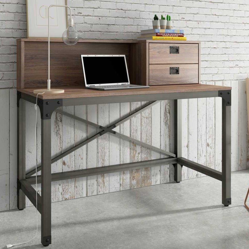 Mesa Escritório Escrivaninha Estrutura em Aço 120cm 2 Gavetas Steel Artesano