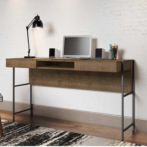 Mesa Escrivaninha Aço e MDF 139cm 27800 Steel Quadra Artesano