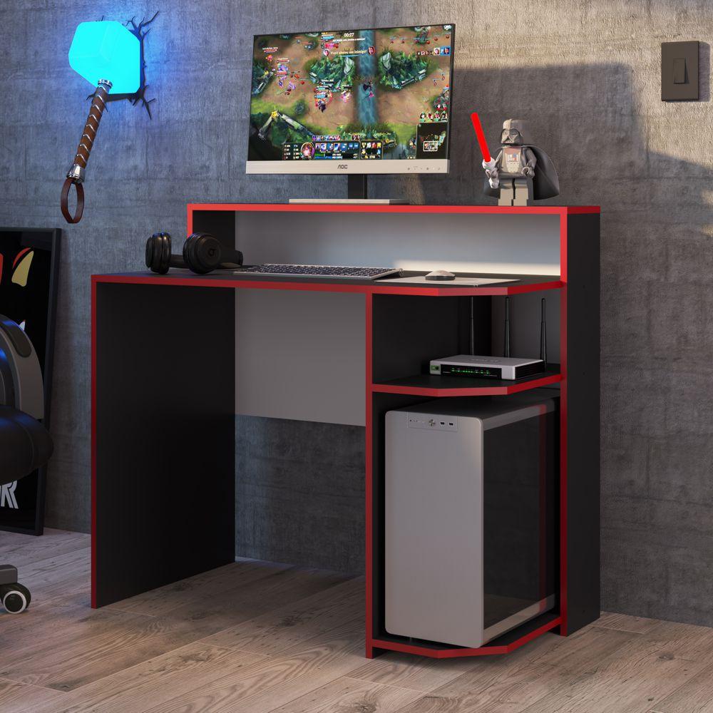 Mesa Gamer Escrivaniha 1,00m Preto com Vermelho Power MG1000 Art in Móveis