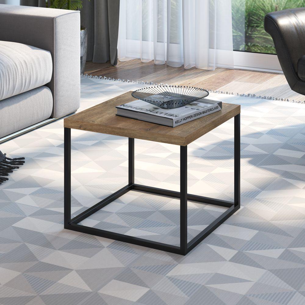 Mesa Lateral Estilo Industrial Baixa 40x40cm Cube 24801 Artesano