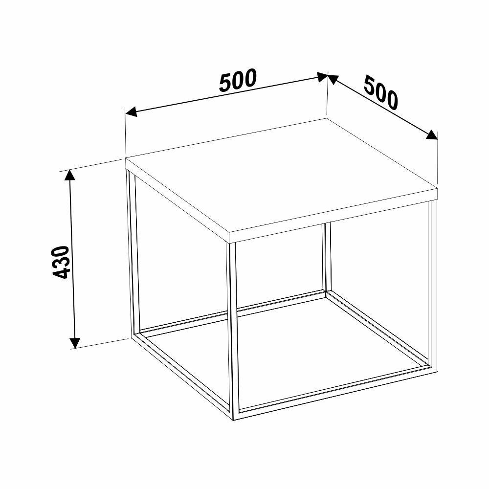 Mesa Lateral Estilo Industrial Grande 50x50cm Cube 24803 Artesano