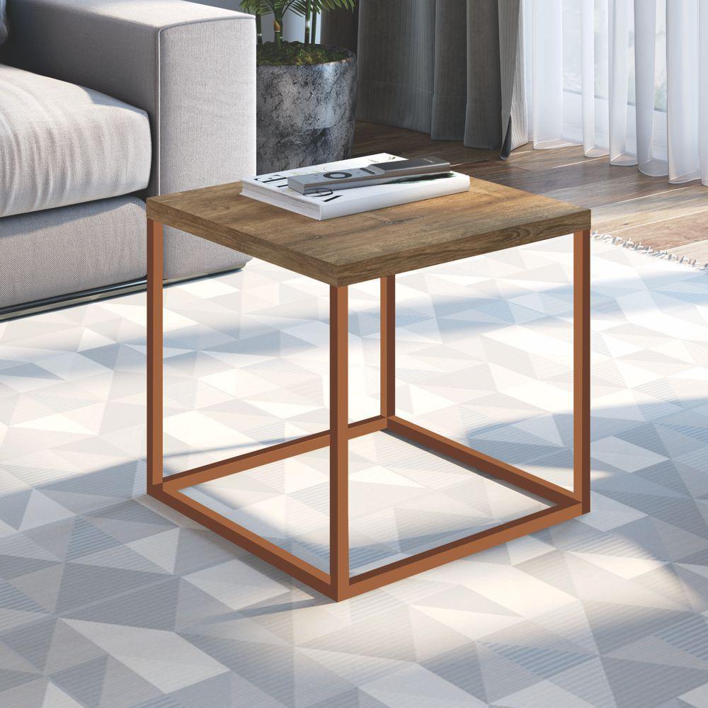 Mesa Lateral Estilo Industrial Média 40x40cm Cube 24802 Artesano