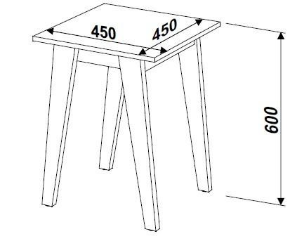 Mesa Lateral Retrô 45x45cm 26716 Trend Artesano