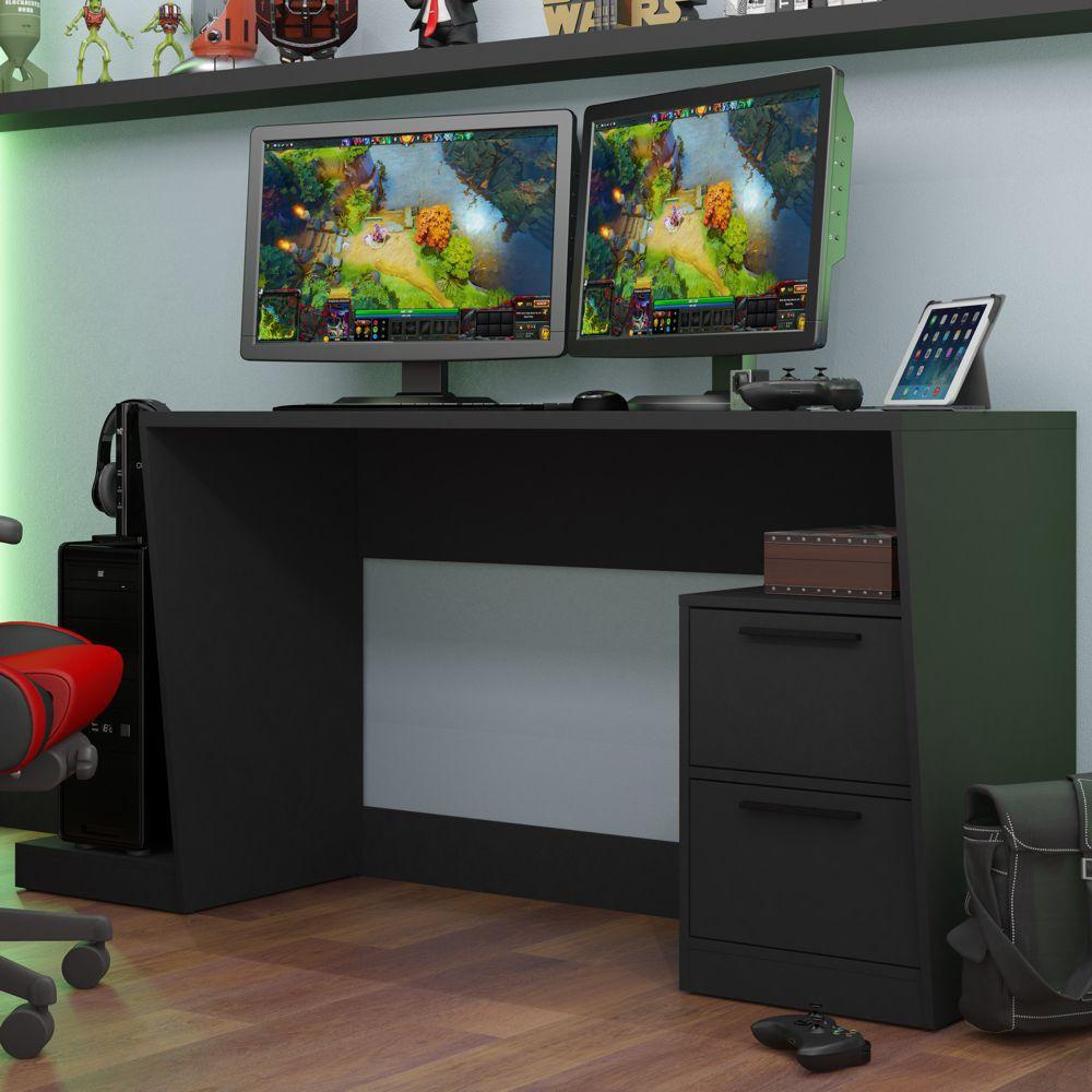 Mesa para Computador Preta Gamer 1,73m BMG 02 BRV Móveis