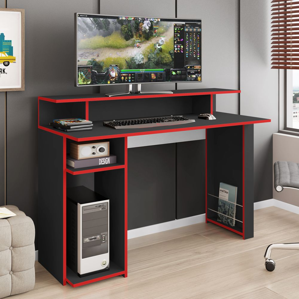 Mesa para PC Gamer 1,20m Branca/Preta GM7000 Art in Móveis