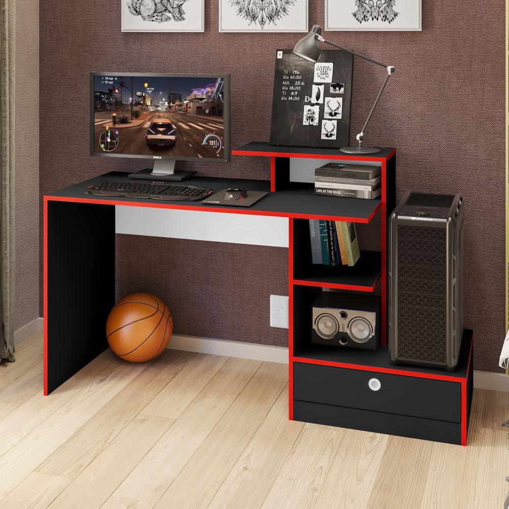 Mesa para PC Gamer 1,50m com gaveta Branca/Preta GM8000 Art in Móveis