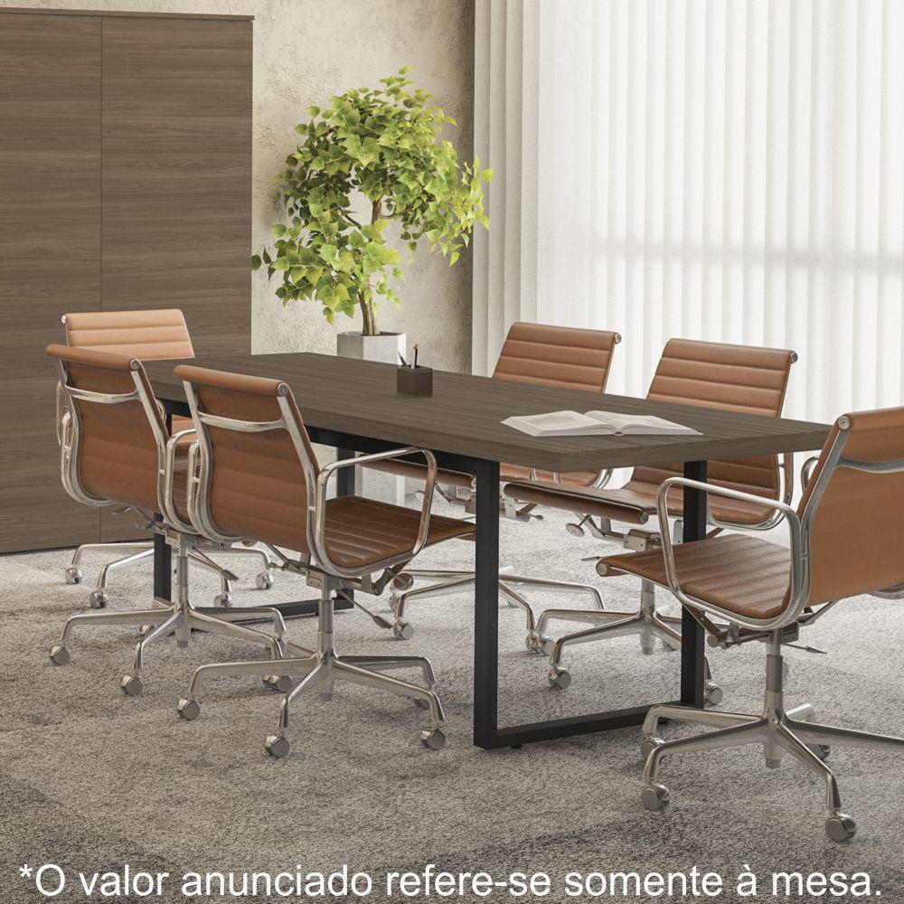 Mesa para Reunião Estilo Industrial 2,20m Pés de Aço Frame F220 Kappesberg